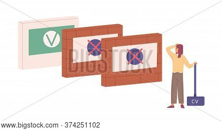 Depressed Woman With Cv Trying To Find Job Vector Flat Illustration. Female With Hammer Stand In Fro