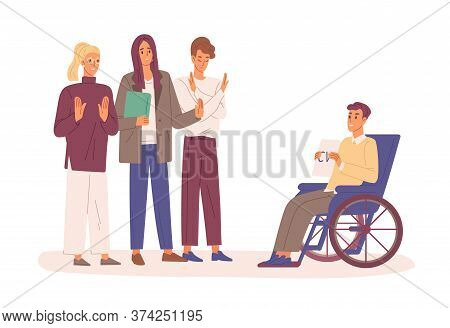 Disabled Man With Cv In Wheelchair Trying To Find Job Vector Flat Illustration. Employers Rejected R