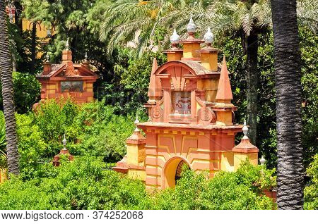 Seville Alcazar Gardens In Summer, Andalusia, Spain