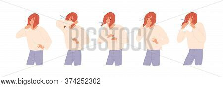 Set Of Sick Woman Sneezing, Coughing And Blow Her Nose Vector Flat Illustration. Cartoon Female With