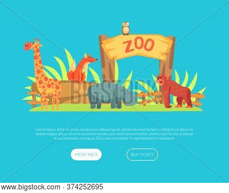 Zoo Or Safari Entrance With African Animals Landing Page Template, African Animals Park Website, Web
