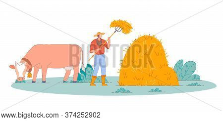 Farmer Making Farm Hay. Isolated Person Cartoon Character Making Haystack With Pitchfork And Cow On