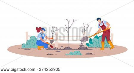 Planting Fruit Trees. Isolated Man And Woman Gardener People Cartoon Characters Holding Shovels And