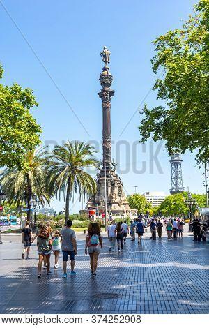 Christopher Columbus Monument On La Rambla Street, Barcelona, Spain - June 2019