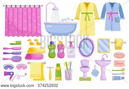 Bathroom Accessories Set. Isolated Home Bathroom Furniture And Accessories Collection. Cartoon Bath