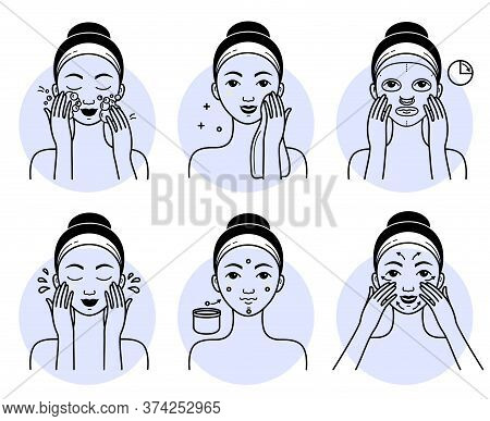 Face Cosmetics Set. Isolated Woman Cleansing, Washing, Massaging Face And Applying Facial Mask Cosme