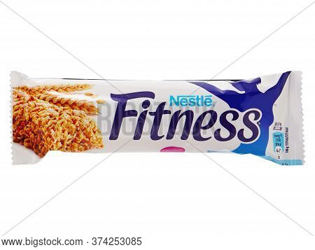 Bucharest, Romania - April 14, 2015. Nestle Fitness Cereal Bars. Nestle Fitness Can Be A Healthy Sna
