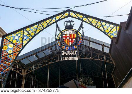Boqueria Market On La Rambla Street, Barcelona, Spain