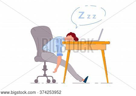Sleeping Worker. Isolated Exhausted Worker Cartoon Character Lying On Office Desk And Sleeping. Vect