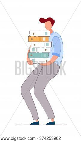 Overworked Businessman. Isolated Tired Office Worker Man Cartoon Character Holding Big Document Fold