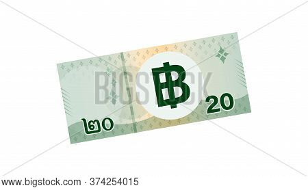 20 Baht Banknote Money Thai Isolated On White, Thai Currency Twenty Thb, Illustration Paper Money Gr