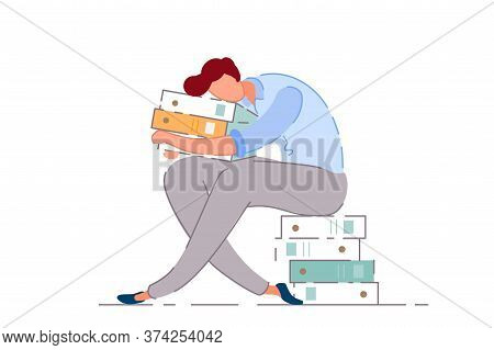 Exhausted Worker. Isolated Tired Overworked Office Worker Man Cartoon Character Sleeping On Document