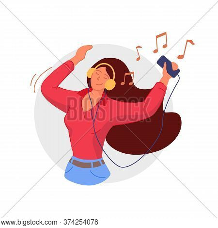 Listening To Headphones. Smiling Woman Listening To Music On Smartphone And Having Fun. Music Lover