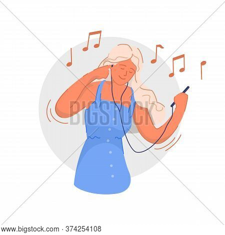 Listening To Audio. Smiling Young Woman Listening To Music On Smartphone And Having Fun. Happy Music