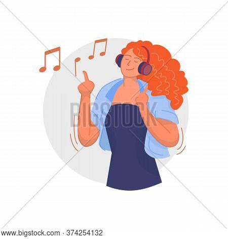 Headphones Music. Happy Young Woman Listening To Music On Wireless Headphones Player, Dancing And Ha