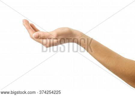 Outstretched Female Hand. Woman Hand With French Manicure Gesturing Isolated On White Background. Pa