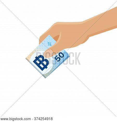Money Thai Baht 50 Banknote In Hand, Hands Holding Banknote Money 50 Thb For Savings Concept
