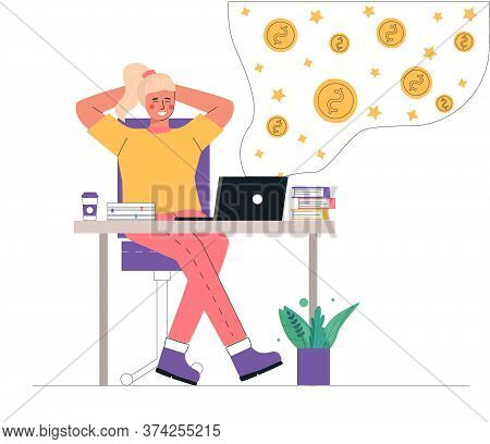 Flat Cartoon Vector Illustration Of A Young Businesswoman Sitting, Relaxing And Making Money Passive