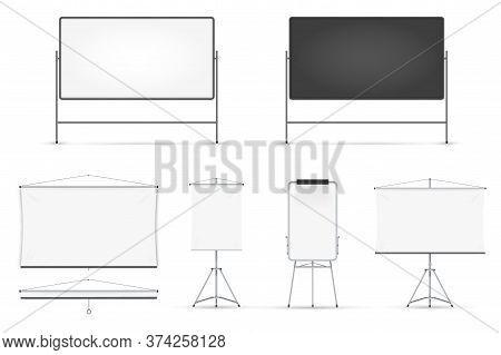 Board Set. Realistic Blank Magnetic Board With Metal Frame, On Tripod, Hanged On Wall Set Isolated O