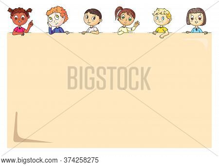 Children Poster. Happy Cute Little Kids Peeping Behind Placard With Blank Empty Space For Promotiona