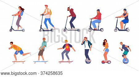 People Riding Set. People Riding Push-kick And Electric Scooter, Monocycle, Hoverboard, Skateboard I