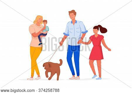 Family Time. Happy Parent And Children Spend Family Time Together. Mother, Father, Teenager Daughter