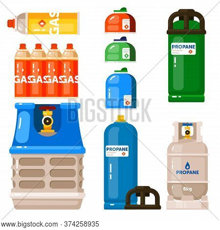 Gas Container. Gas Container Icon Set Isolated On White Background. Petroleum Fuel In Safety Cylinde