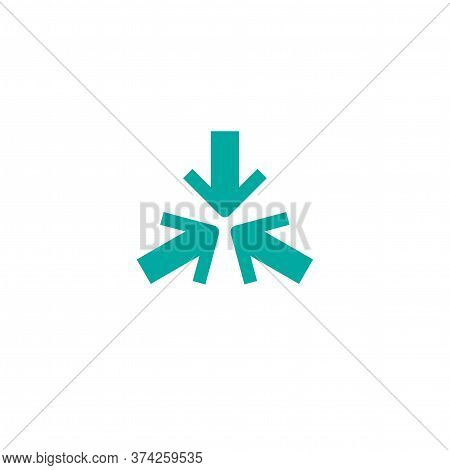 Three Blue Arrows Point To The Center. Triple Collide Arrows Icon. Merge Directions Icon.
