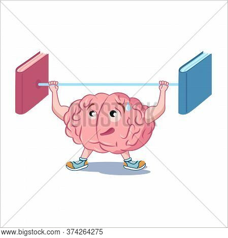 The Brain Weight Lifter. The Brain Becomes Stronger With The Help Of Reading Books. Vector Character