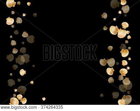 Gold Seashells Vector, Golden Pearl Bivalved Mollusks. Underwater Scallop, Bivalve Pearl Shell, Mari