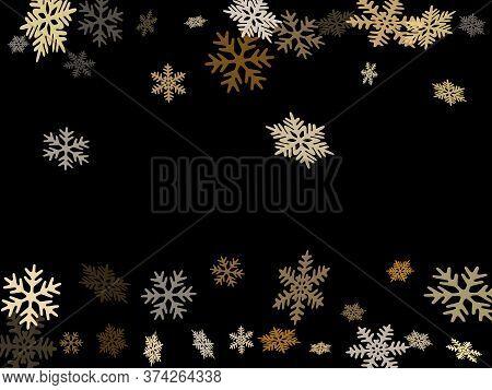 Winter Snowflakes Border Cool Vector Background.  Macro Snowflakes Flying Border Illustration, Card
