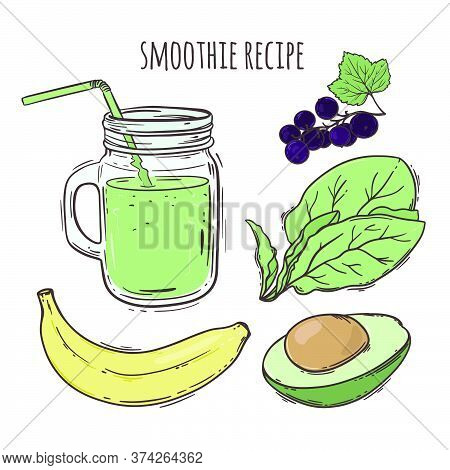 Recipe Smoothie Healthy Eating Nutrition Beverage Paleo Keto Organic Diet Nature Vector Illustration