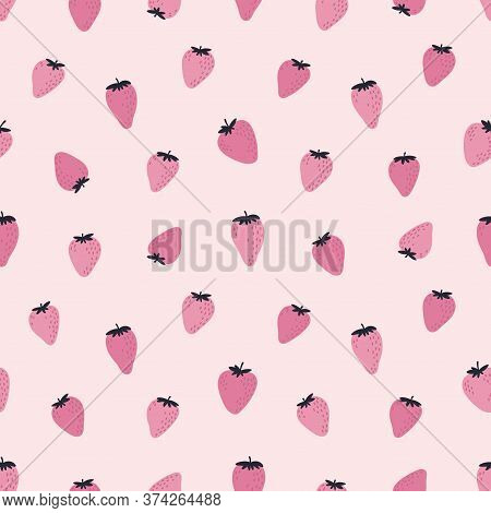 Cute Seamless Pattern With Pink Strawberries. Natural Summer Print With Berry, Fresh Fruits In Hand
