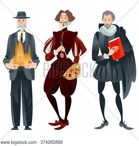 History Of Spain. Famous People. Architect Antoni Gaudí, Painter Diego Velázquez, Writer Miguel De C