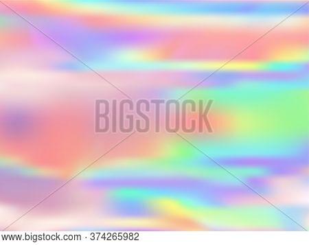 Neon Holographic Paper Fluid Gradient Backdrop. Psychedelic Pastel Rainbow Unicorn Background. Liqui