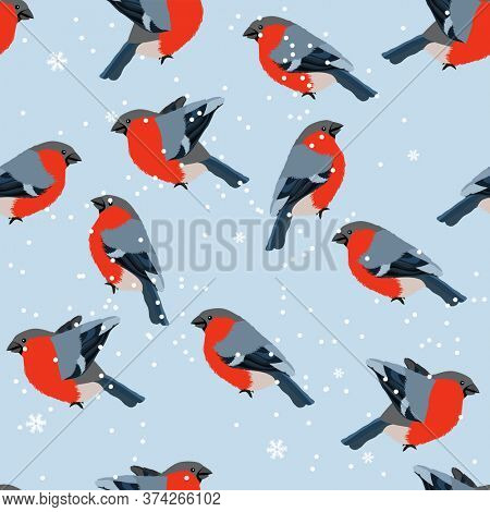Stylized seamless pattern with pretty red bullfinches