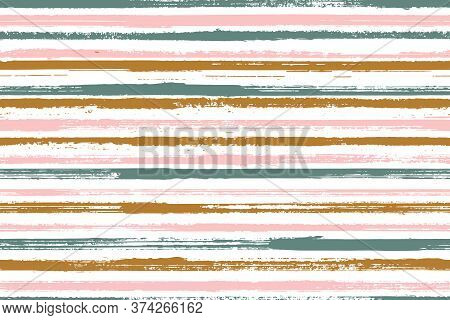 Watercolor Freehand Straight Lines Vector Seamless Pattern. Distressed Kids Clothes Fabric Design. R