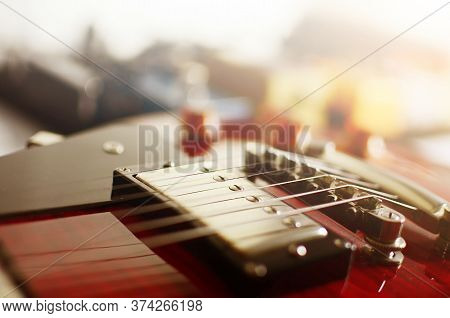 Electric Guitar, Used To Play Music And Notes, For Sing A Song, Macro Abstract