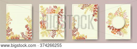 Hand Drawn Herb Twigs, Tree Branches, Flowers Floral Invitation Cards Set. Plants Borders Creative I