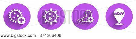 Set Positive Virus, Virus, Positive Virus And Corona Virus 2019-ncov On Location Icon With Long Shad