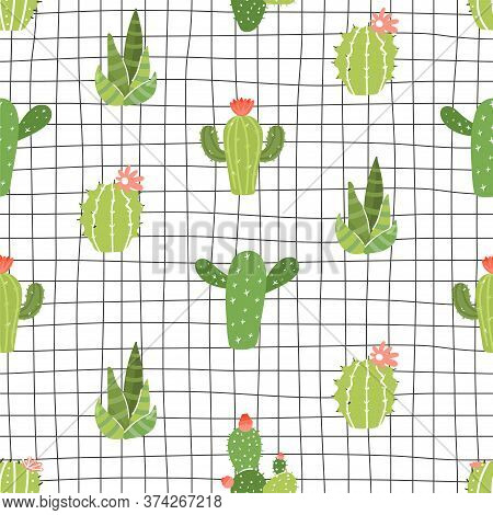 Seamless Pattern With Various Type Of Cactus On Checkered Background. Texture For Textile, Postcard,