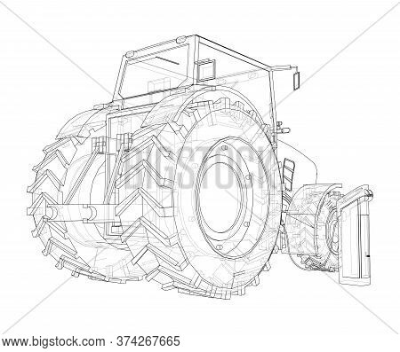 Electric Farm Tractor Charging Station Sketch. Vector Rendering Of 3d. Wire-frame Style. The Layers