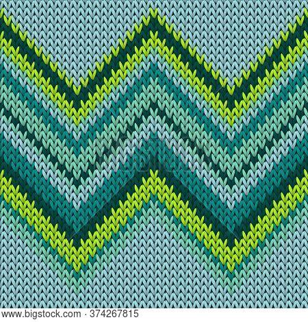 Handicraft Zig Zal Lines Knitted Texture Geometric Vector Seamless. Jacquard Knitwear Fabric Print.