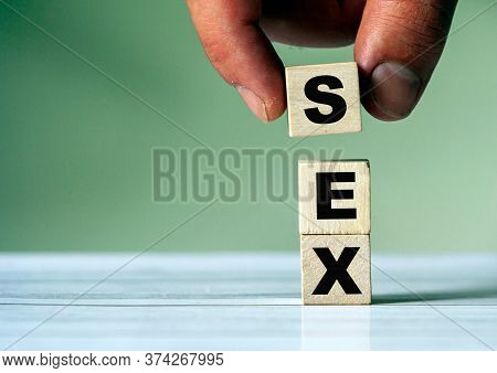 The Hand Puts The Cube Block With The Inscription Sex. Sex Concept. Symbol Of Sex Education.