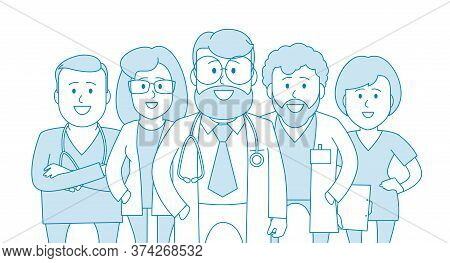 Group Of Doctors Of Our Medical Staff. Medical Specialists. Medical Worker At A Clinic Or Hospital.