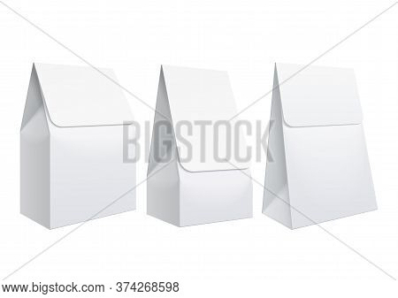 Realistic White Blank Template Packaging For Food. Food Packing Coffee, Salt, Sugar, Pepper, Sweets.