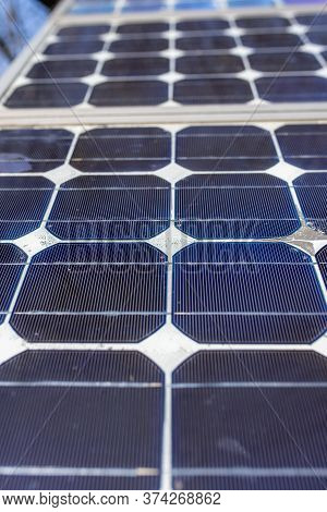 Old Small Solar Panels Gate House Opening Photovoltaic Electric System For Village