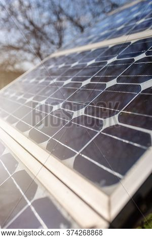 Old Small Solar Panels Gate House Opening Photovoltaic Electric System For Home In Village.
