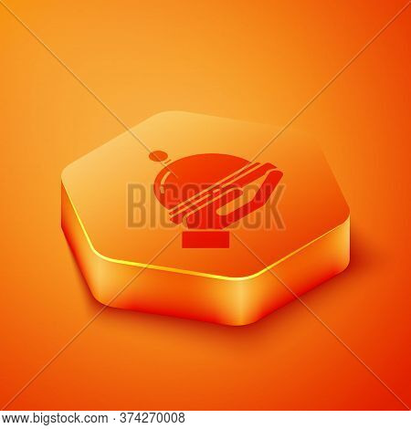 Isometric Covered With A Tray Of Food Icon Isolated On Orange Background. Tray And Lid Sign. Restaur