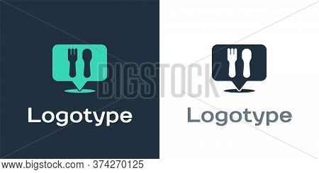 Logotype Cafe And Restaurant Location Icon Isolated On White Background. Fork And Spoon Eatery Sign